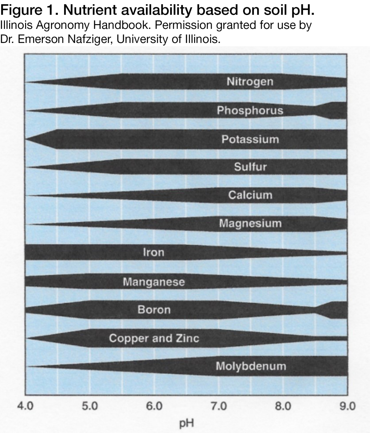 Nutrient availability based on soil pH. Illinois Agronomy Handbook. Permission granted for use by Dr. Emerson Nafziger, University of Illinois.
